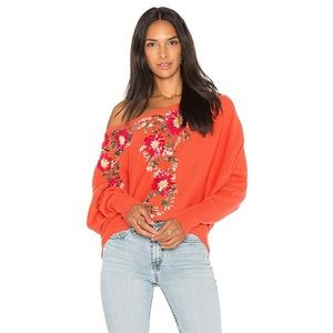 Free People Bouquet Embroidered Sweater Size M